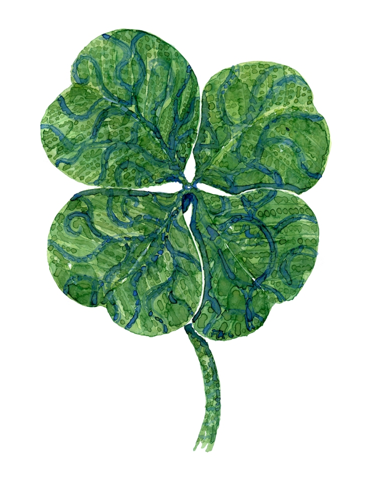 Watercolor of four leaf clover, by Frits Ahlefeldt