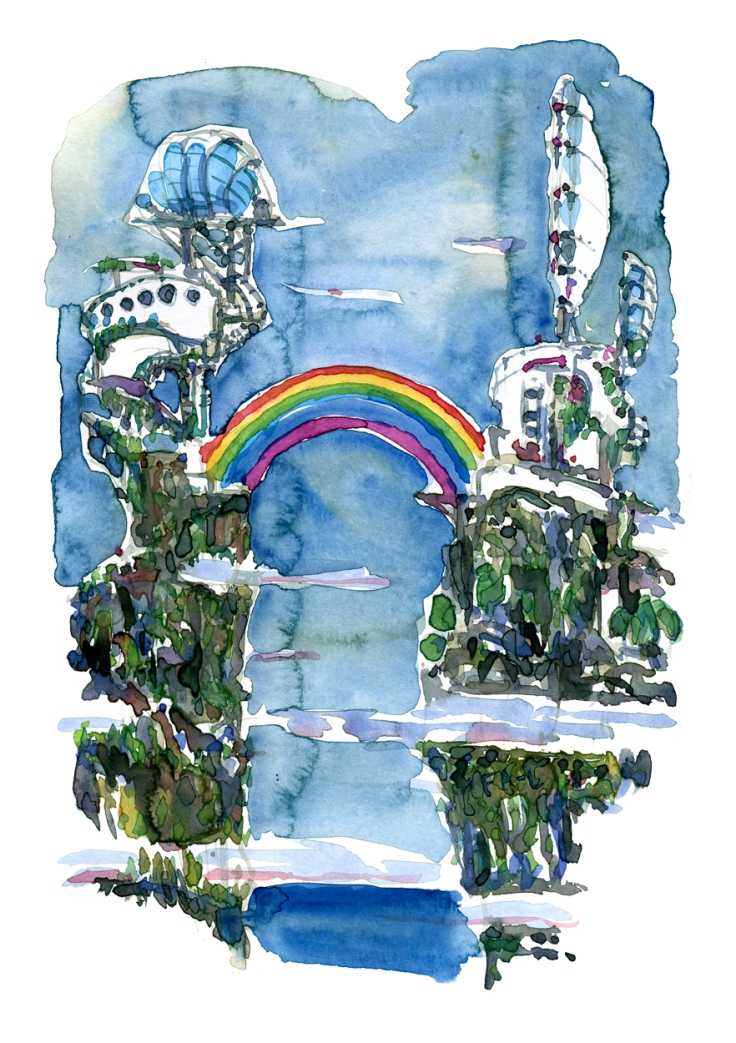Artwork by Frits Ahlefeldt, Rainbow bridge between mountain castles