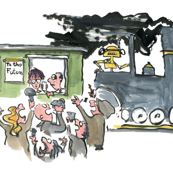 drawing of journalists trying to get a comment from some future kids on a digital trail ride. Illustration by Frits Ahlefeldt