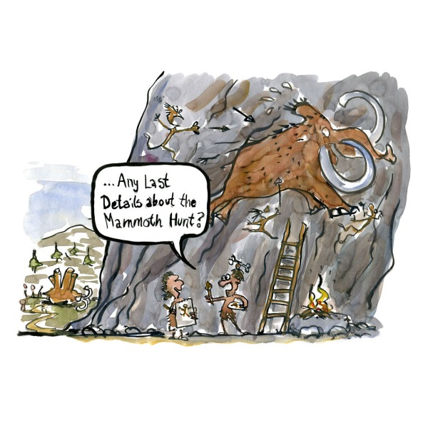 Man drawing a mammoth on a cave wall asking hunter if there are any last details of the hunt. drawn journalism by Frits Ahlefeldt