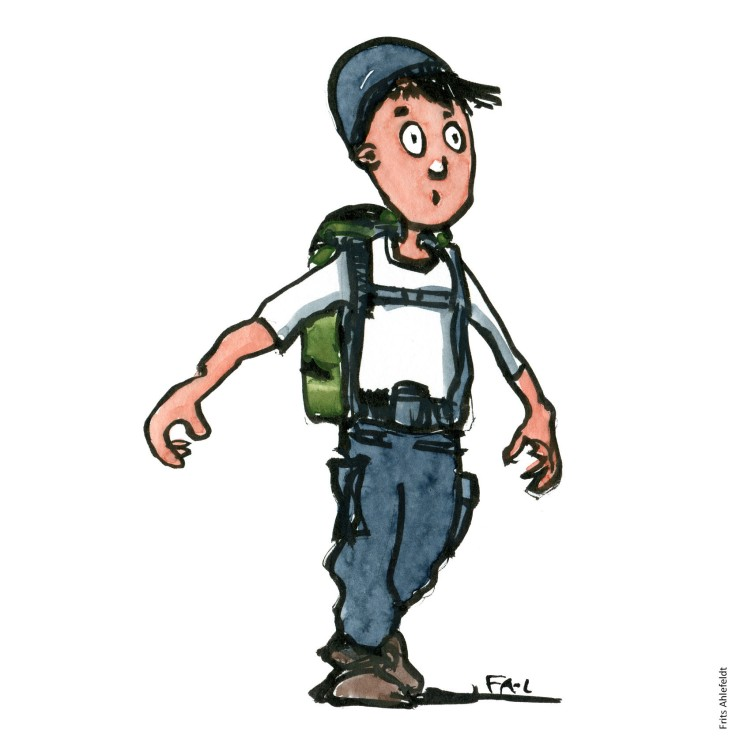 Ink and watercolor style hiker with backpack