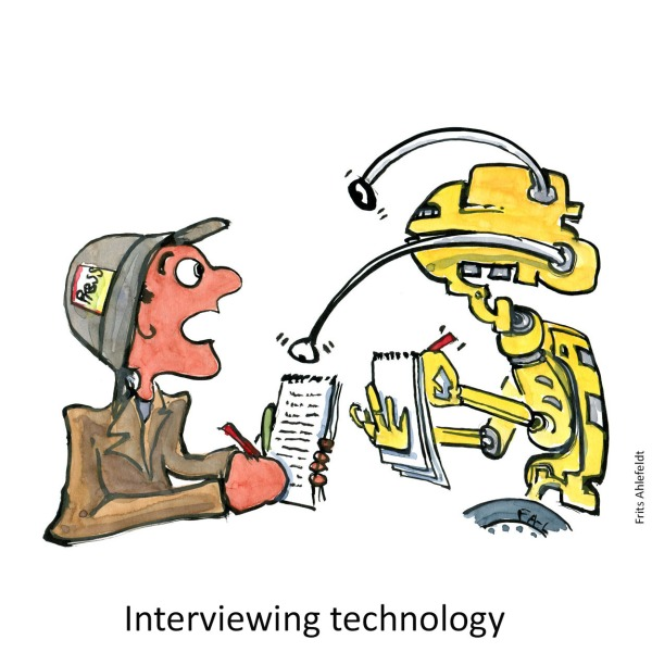 drawing of a journalist and a robot each interviewing the other.
