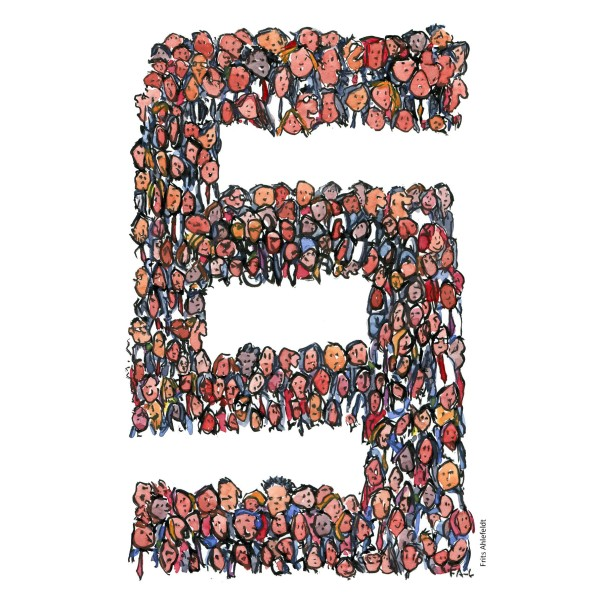 Drawing of a lot of people making up a paragraph sign. Illustration by Frits Ahlefeldt