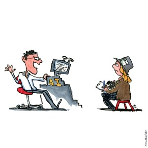 Drawing of a journalistic robot using AI to write. Editor tells journalist about robot journalism. Drawn journalism illustration by Frits Ahlefeldt