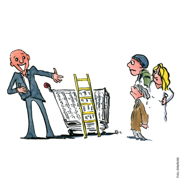 Man with a shopping trolley trying to convince people to jump into it. Drawing by Frits Ahlefeldt