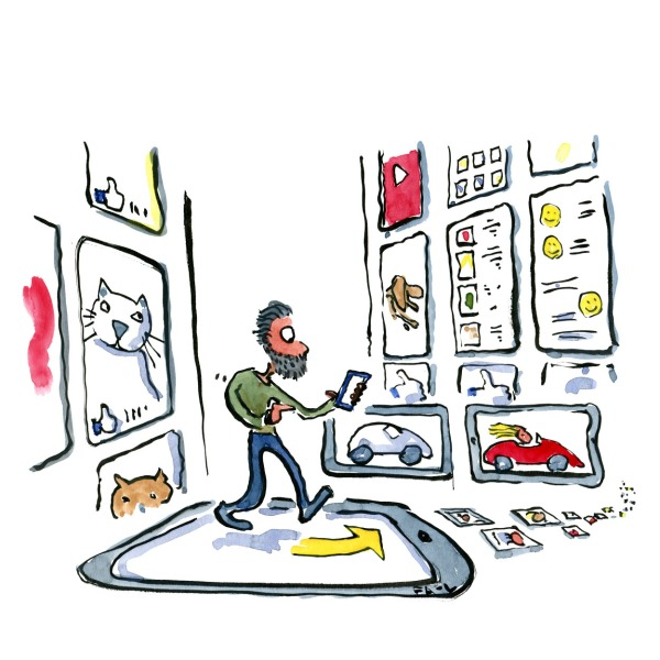 man walking through a screen based reality, with a phone in his hand. Drawing by Frits Ahlefeldt