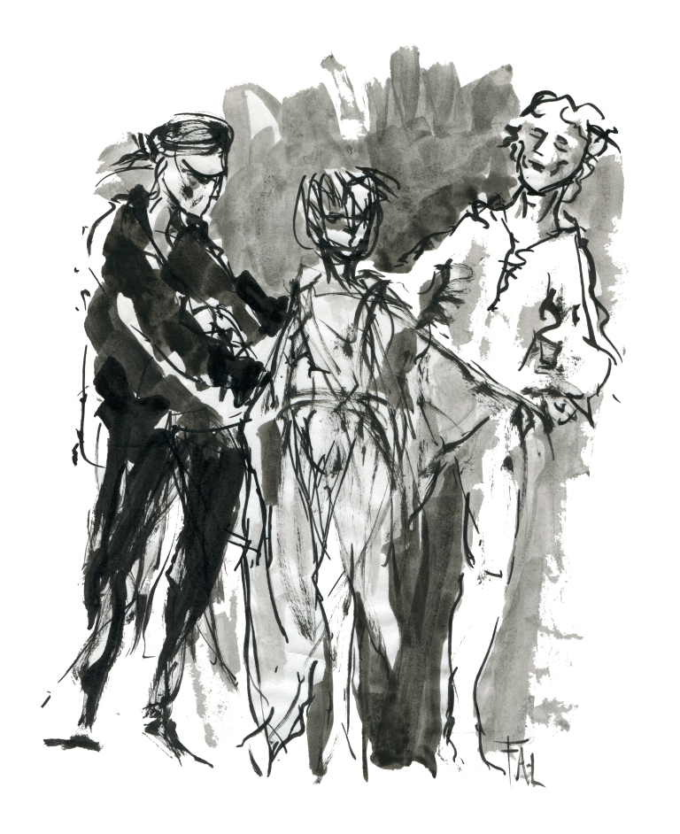 Ballet dancer group ink drawing by Frits Ahlefeldt