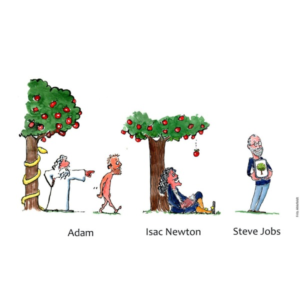 drawing of Adam leaving paradise, Newton under apple tree and Steve Jobs