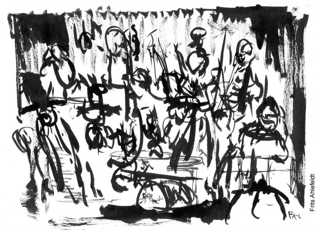Live theater sketch by Frits Ahlefeldt. H.C. Andersen Play