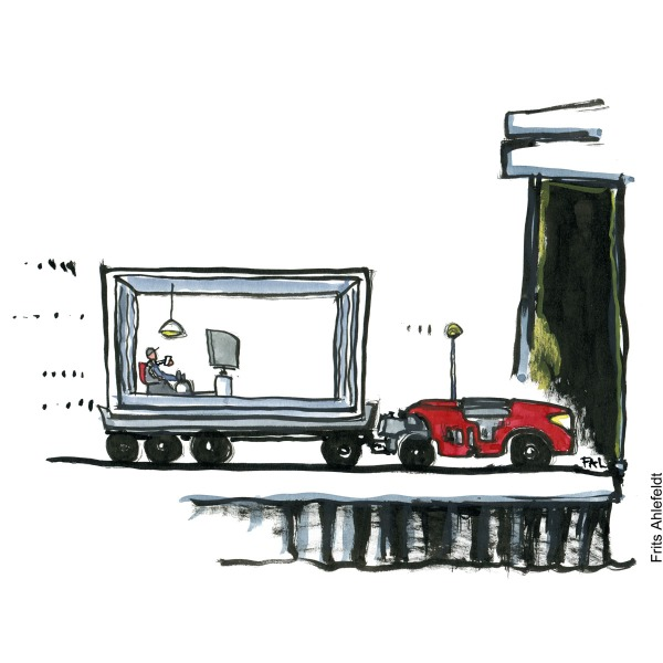 drawing of a man by phone in a small cell, being towed by self-driving robot. illustration by Frits Ahlefeldt