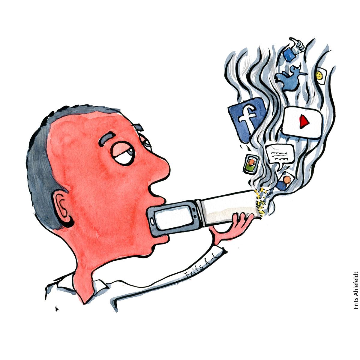 Illustration-digital addict-drawing - drawn journalism by Frits Ahlefeldt