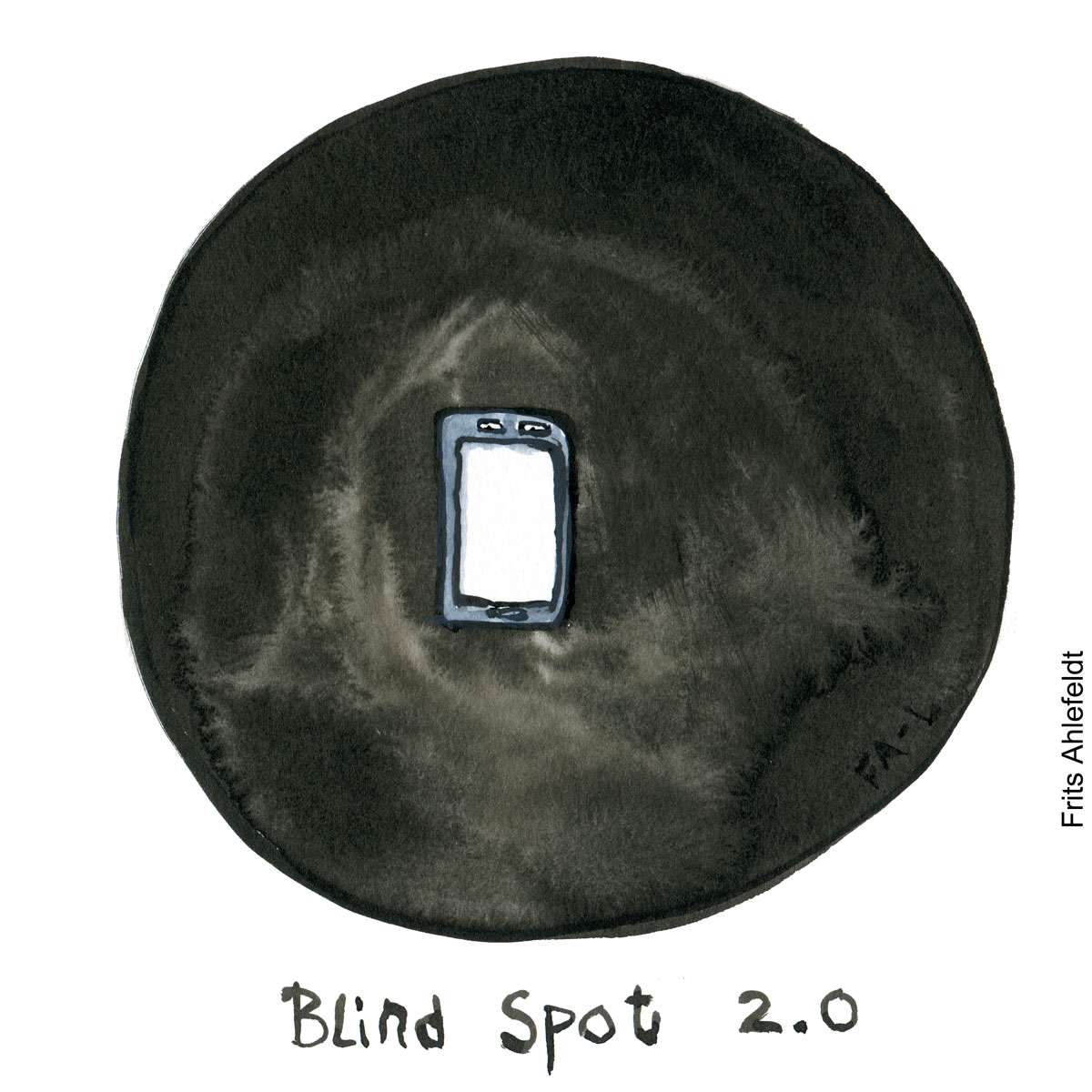 Illustration-of a phone in a blind spot-drawing - drawn journalism by Frits Ahlefeldt