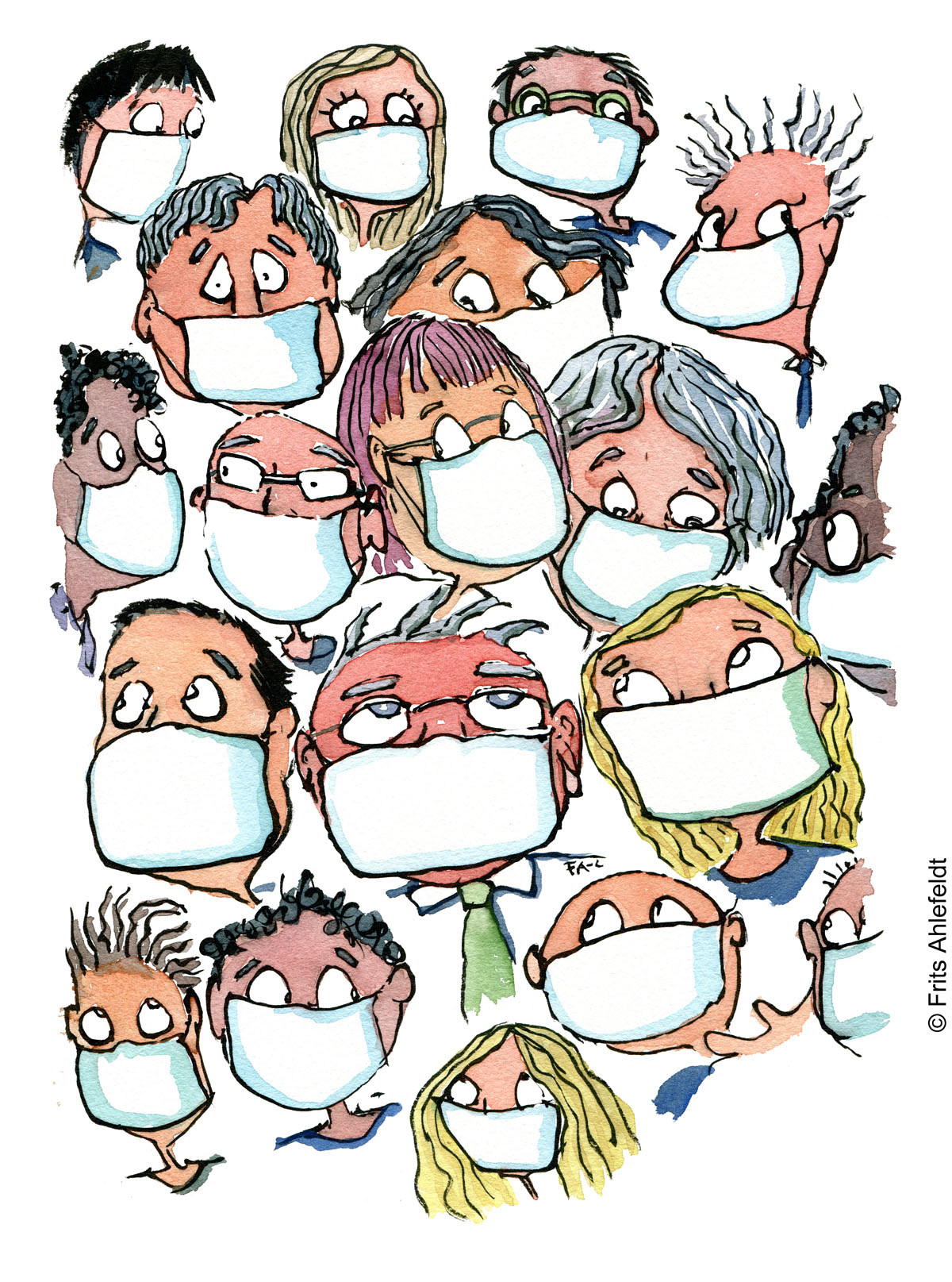 Illustration of people looking scared with facemasks on. Drawn journalism drawing by Frits Ahlefeldt