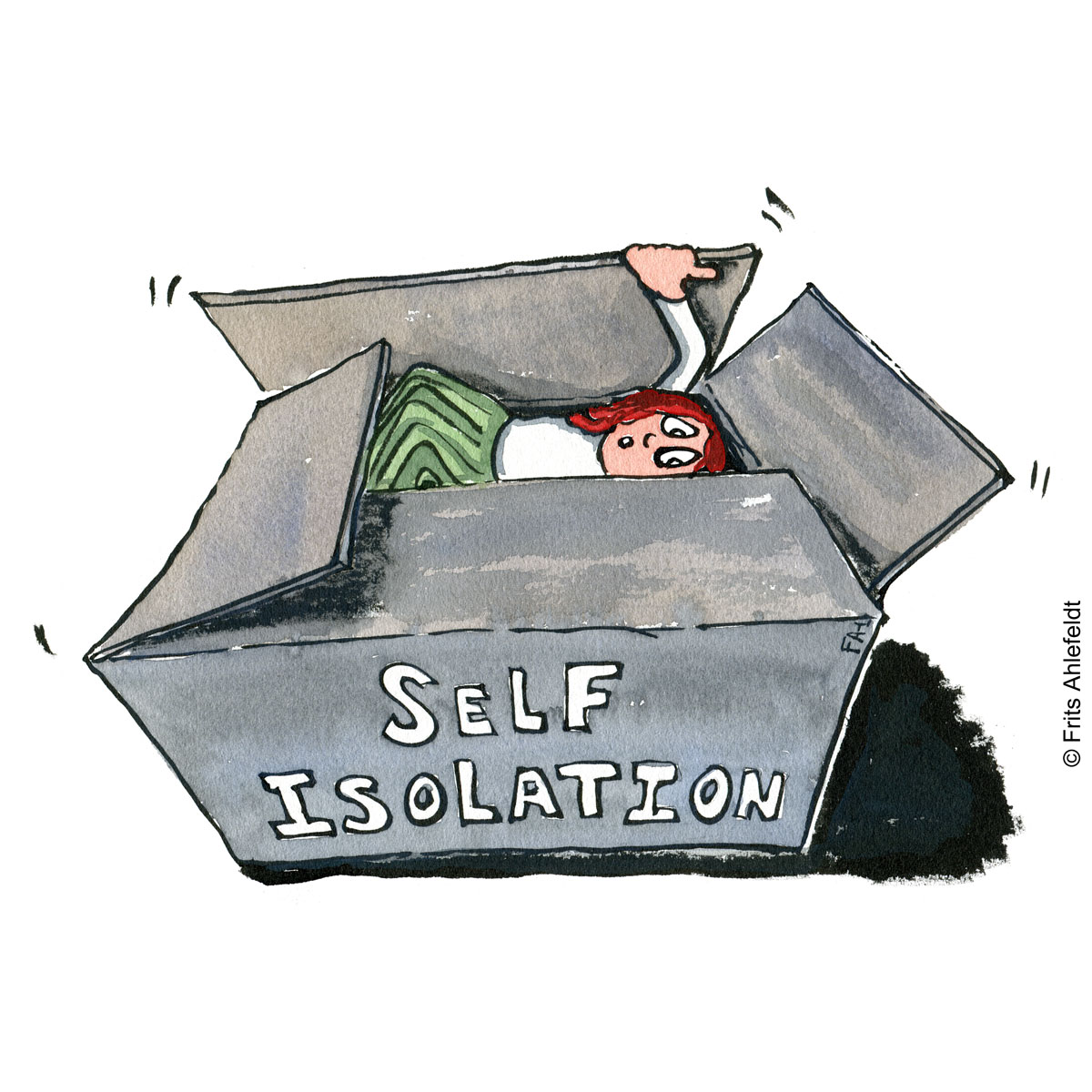 Illustration of person going into a cardbox like container with self-isolation written on it. Drawn journalism drawing by Frits Ahlefeldt
