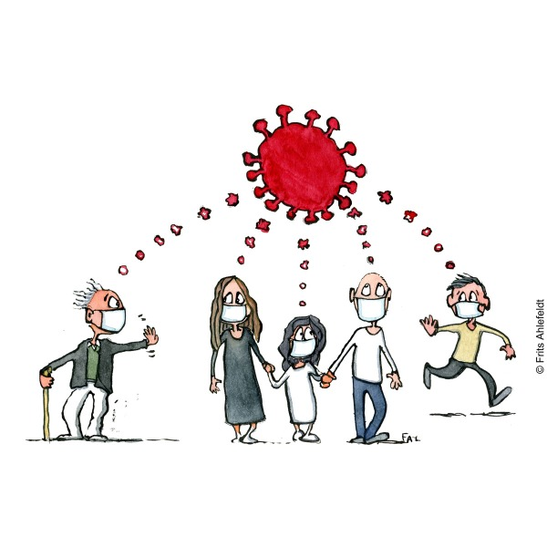 Drawing of people wearing facemasks all keeping their distance, while thinking of the COVID-19 virus. Illustration by Frits Ahlefeldt