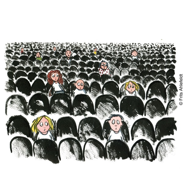 Audience on seats sitting far from each other, looking scared. Drawn journalism by Frits Ahlefeldt