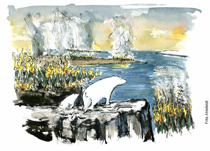 Drawing of two stranded polar bears mother and cub, stranded surrounded by wildfires. Climate change illustration by Frits Ahlefeldt