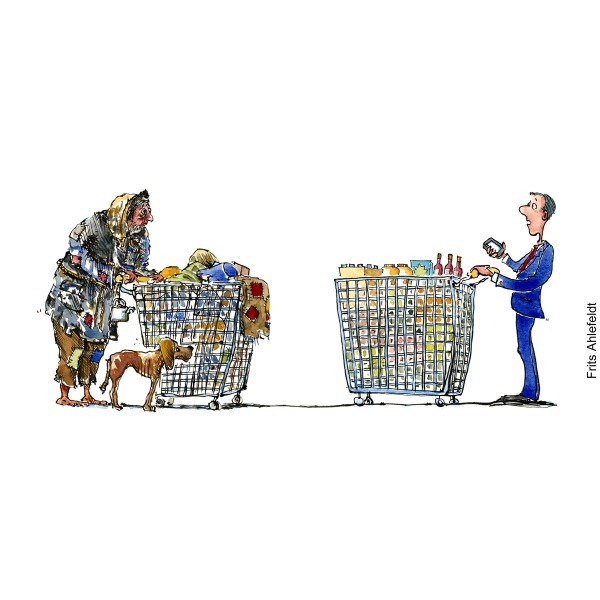 drawing of a homeless man with all his possessions in a shopping wagon meets a shopper with filled shopping trolley and smartphone. illustration by Frits Ahlefeldt