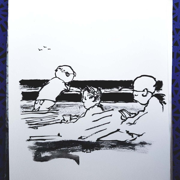 Ink sketch of people on a ferry, sitting quietly. Drawing by Frits Ahlefeldt