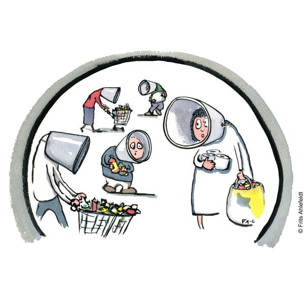 Group of people shopping with protective collars around their necks, making tunnel vision. Drawn Journalism illustration by Frits Ahlefeldt.
