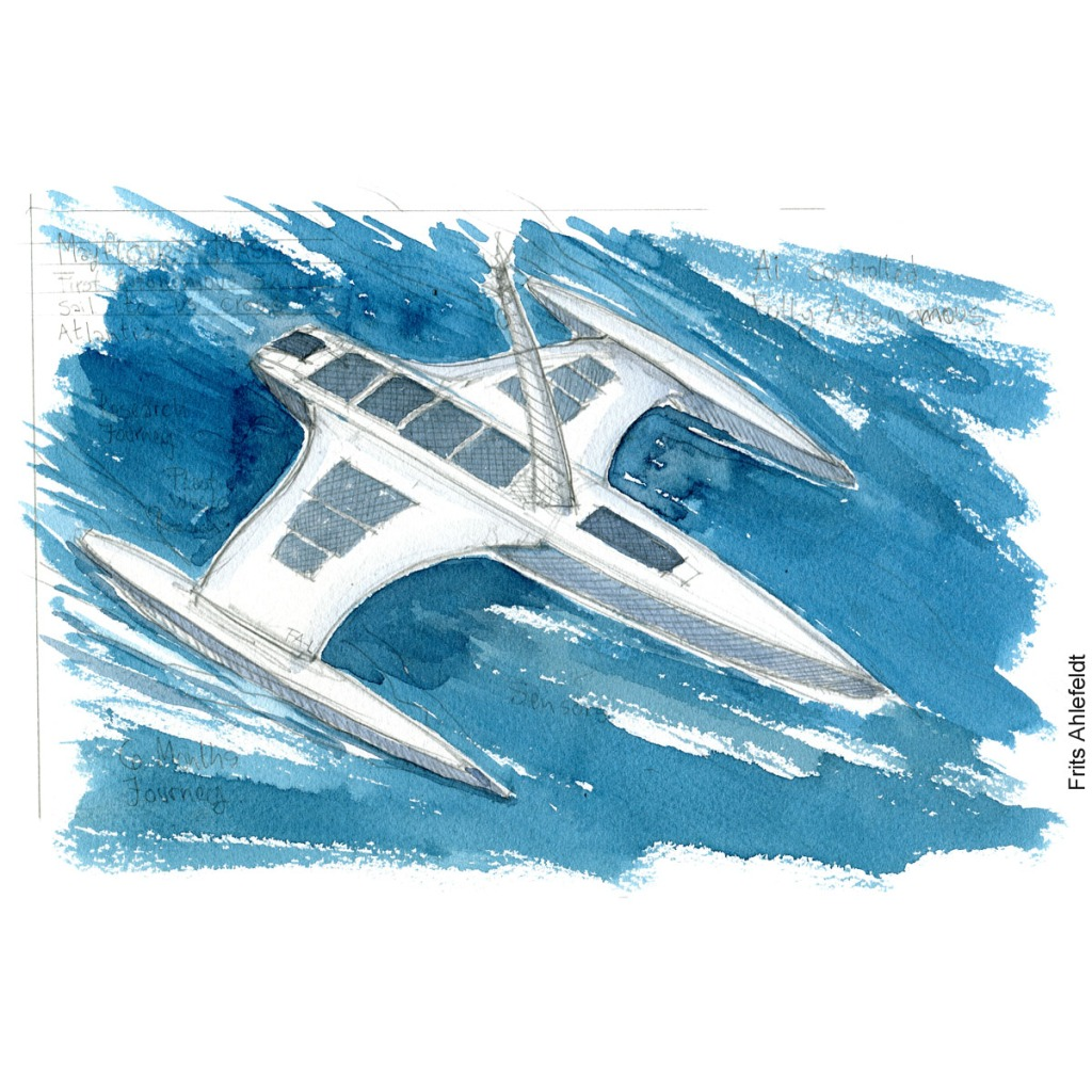 """Pencil and watercolor drawing of the autonomous ship """"the mayflower"""". Drawn journalism by Frits Ahlefeldt"""