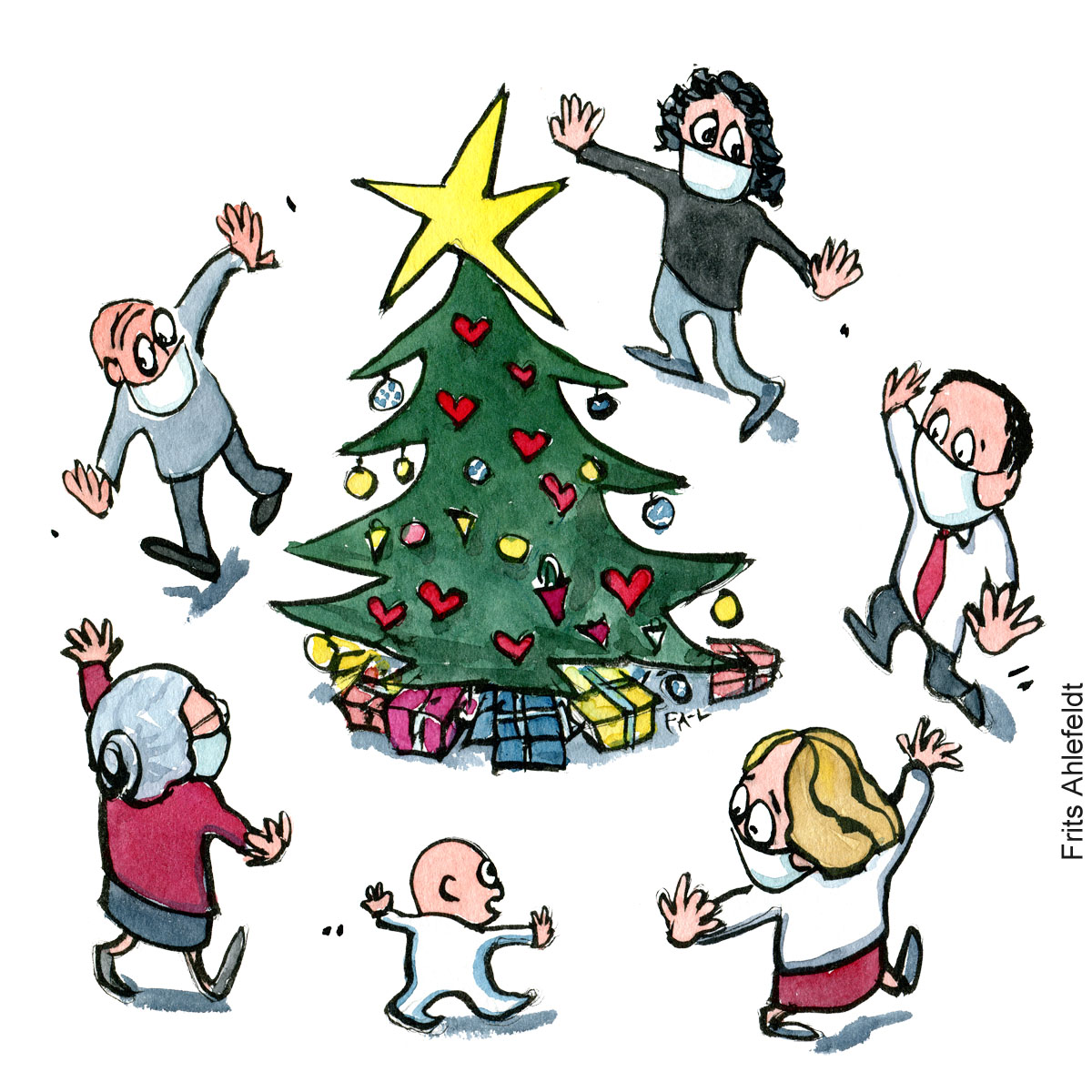 People dancing around Christmas tree while keeping covid virus distance. Illustration by Frits Ahlefeldt