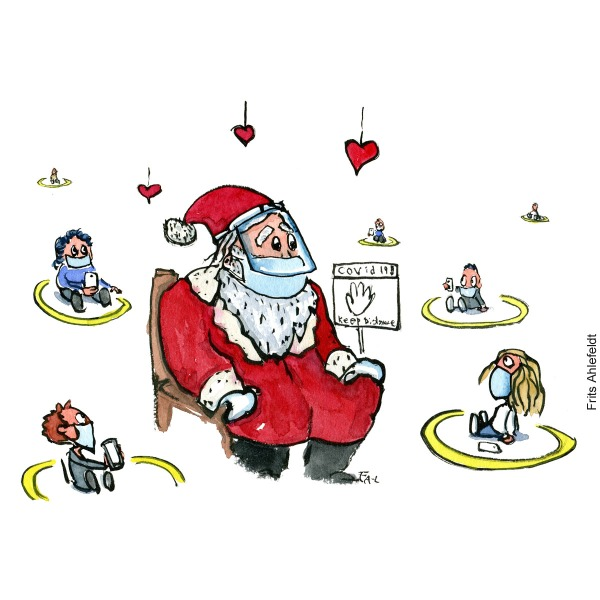 Drawing of Santa Claus sitting with facemask between kids with distance to each other, and with phones. Illustration by Frits Ahlefeldt