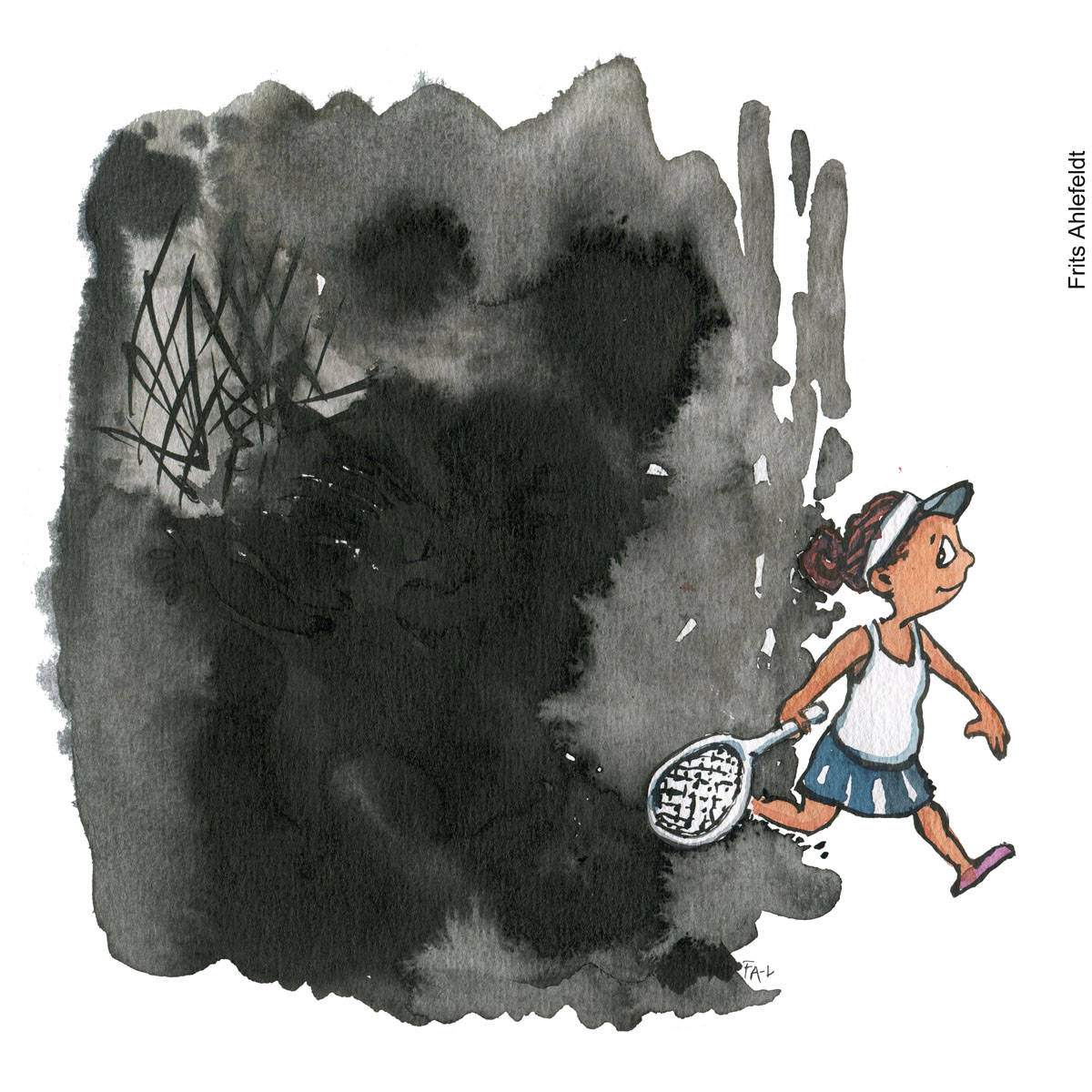 Naomi Osaka with tennis racket walks out of shadow color illustration by Frits Ahlefeldt. Drawn Journalism