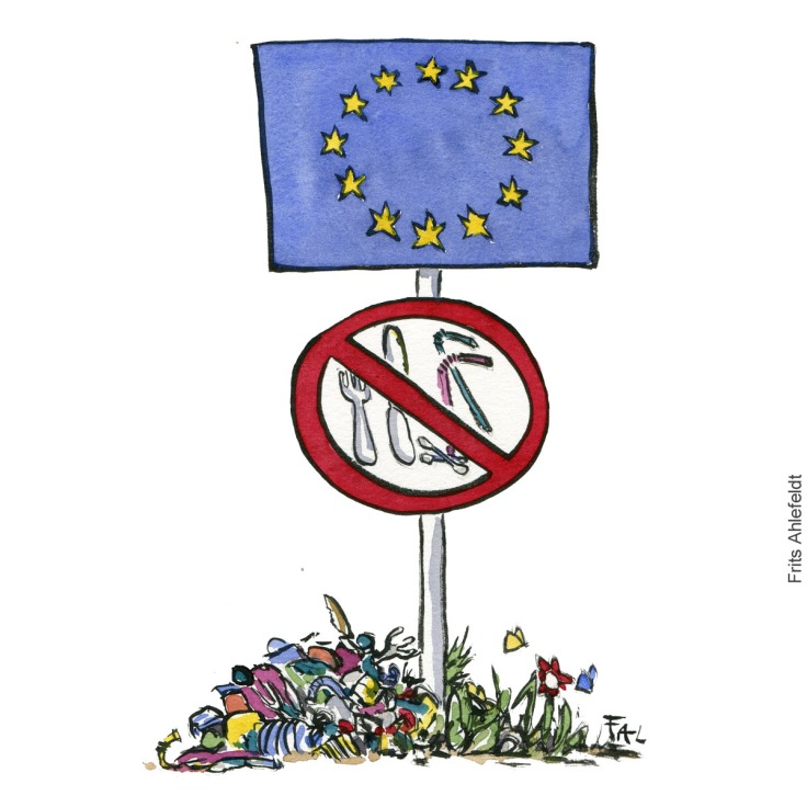 Illustration of a sign with plastic around it and both a Eu sign and a no access for single use plastics sign. Drawn journalism by Frits Ahlefeldt